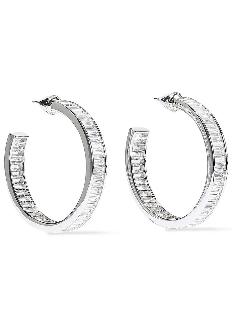 Noir Jewelry Woman Rangées Rhodium-plated Crystal Hoop Earrings Silver