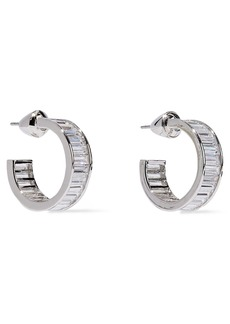 Noir Jewelry Woman Rangées Small Rhodium-plated Crystal Hoop Earrings Silver