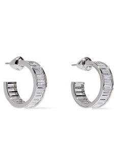 Noir Jewelry Woman Rangées Small Rhodium-plated Crystal Hoop Earrings Silver