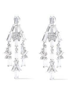 Noir Jewelry Woman Récolter Rhodium-plated Crystal Earrings Silver