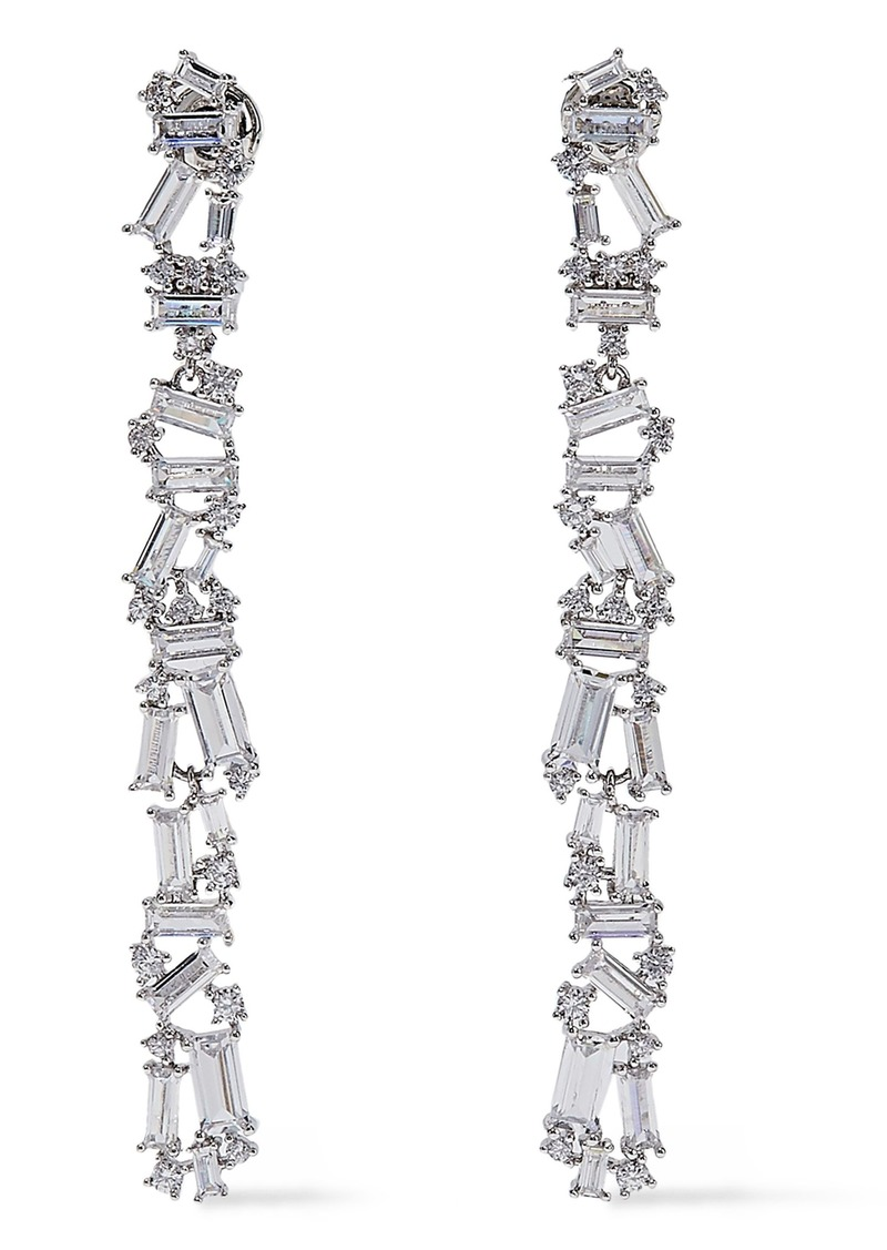 Noir Jewelry Woman Rhodium-plated Crystal Earrings Silver