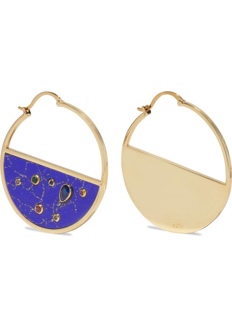 Noir Jewelry Woman Round Rhinestones 14-karat Gold-plated Stone And Crystal Hoop Earrings Royal Blue