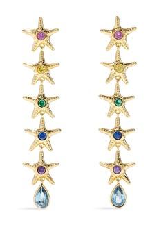 Noir Jewelry Woman Saboga Linked Starfish 14-karat Gold-plated Crystal Earrings Gold