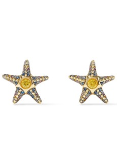 Noir Jewelry Woman Saboga Starfish 14-karat Gold-plated Crystal Earrings Gold