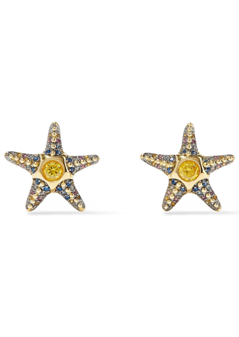 Noir Jewelry Woman Saboga Starfish 14-karat Gold-plated Crystal Earrings Gold