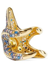 Noir Jewelry Woman Saboga Starfish 14-karat Gold-plated Crystal Ring Gold