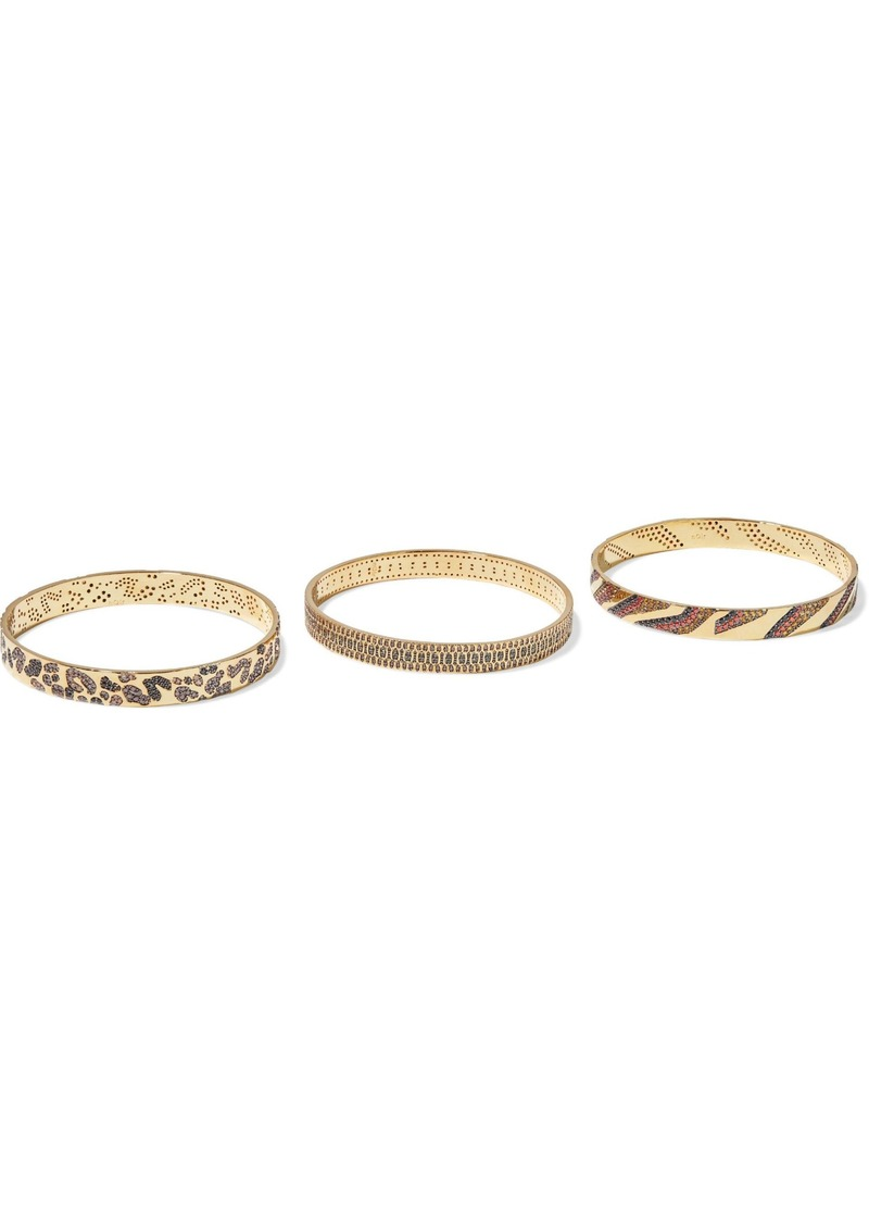 Noir Jewelry Woman Set Of Three 14-karat Gold-plated Crystal Bangles Gold