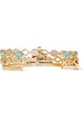 Noir Jewelry Woman Set Of Three 14-karat Gold-plated Stone Bracelets Gold