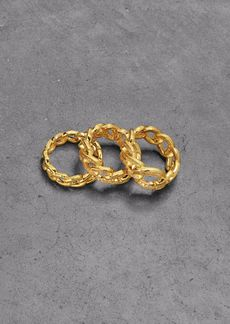 Noir Jewelry Woman Set Of Three Gold-plated Crystal Rings Gold