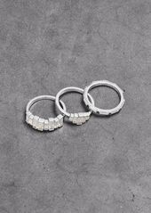 Noir Jewelry Woman Set Of Three Rhodium-plated Crystal Rings Silver