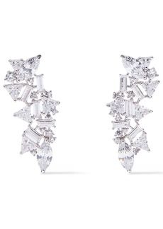 Noir Jewelry Woman Silver-tone Crystal Earrings Silver