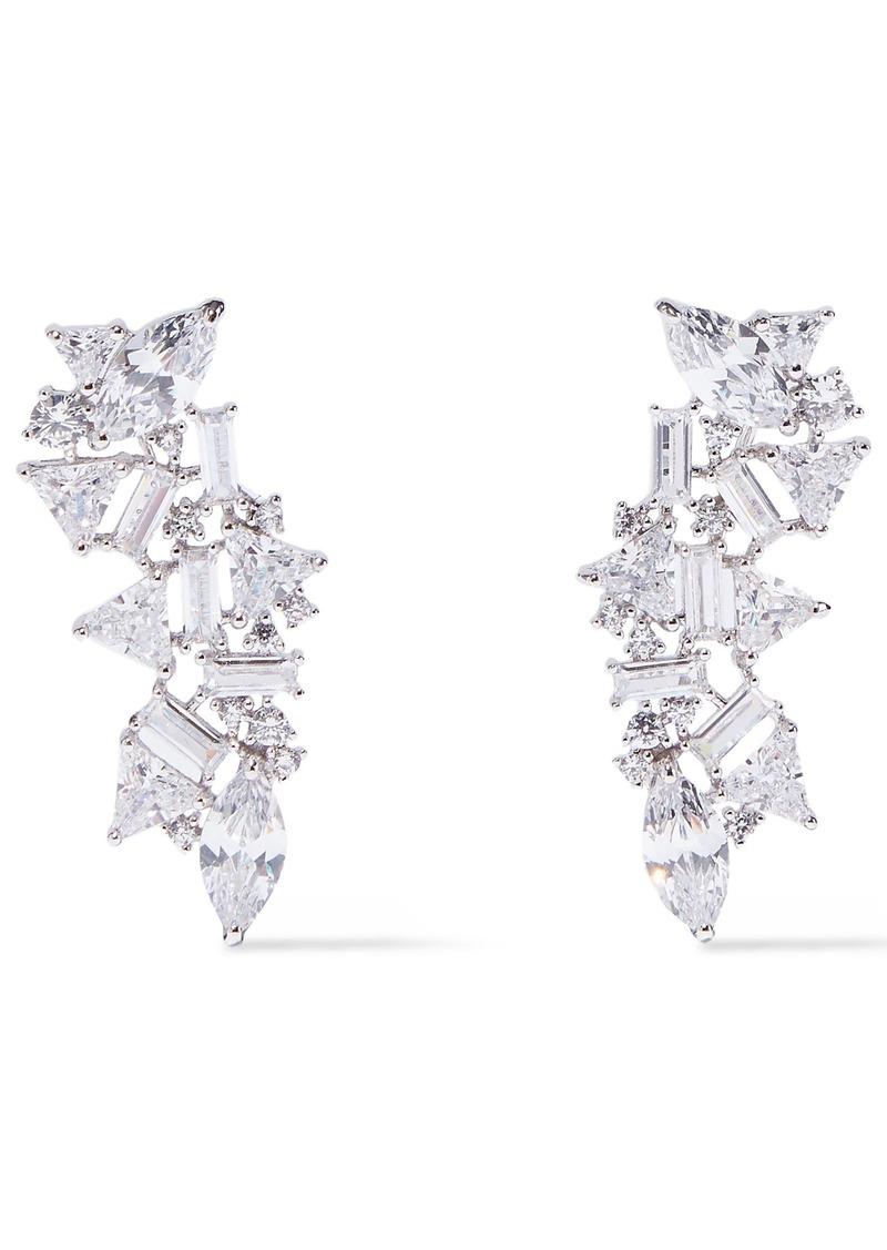 Noir Jewelry Woman Silver-tone Crystal Earrings Silver