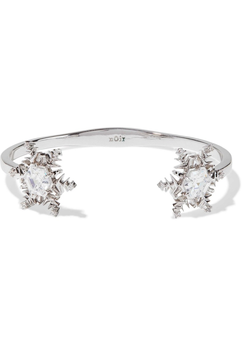 Noir Jewelry Woman Snowflake Rhodium-plated Crystal Cuff Silver