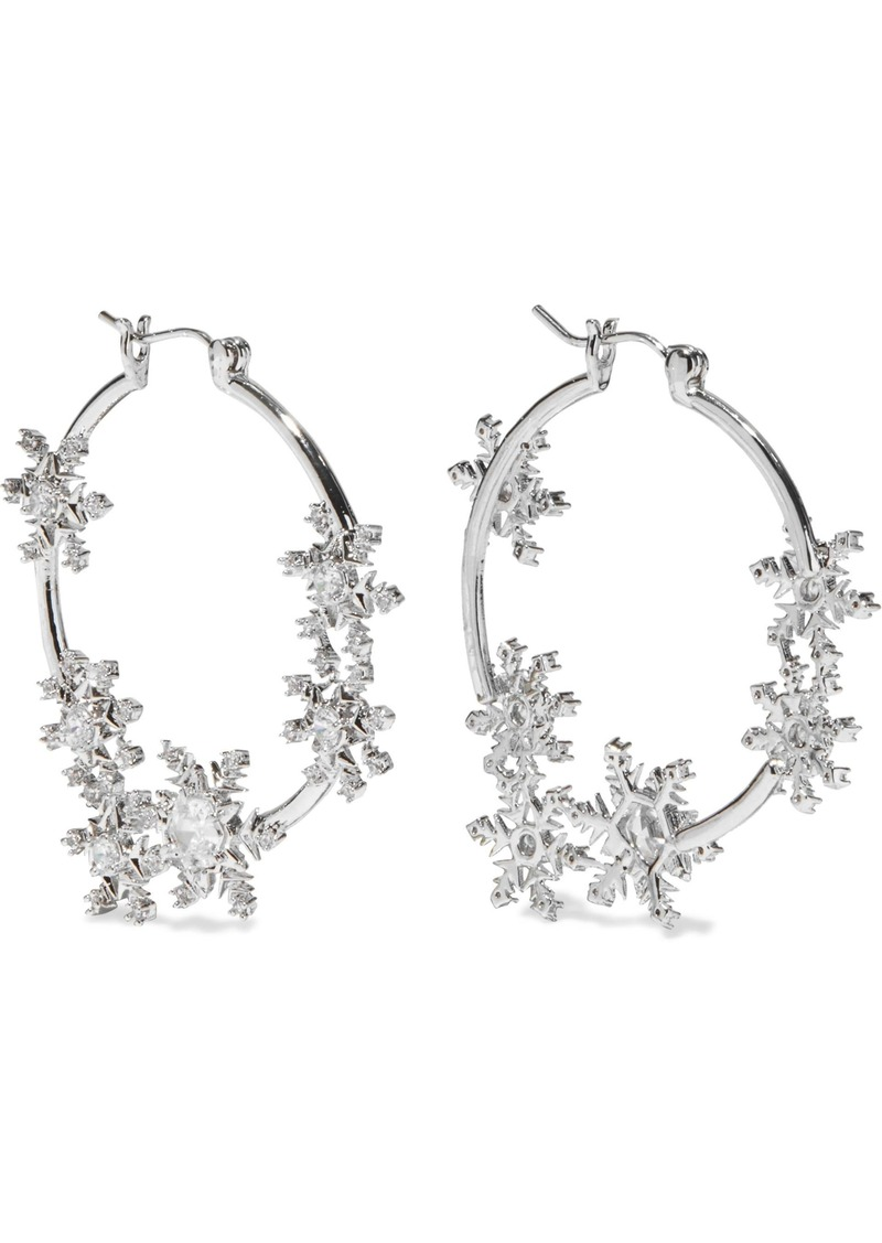 Noir Jewelry Woman Snowflake Rhodium-plated Crystal Hoop Earrings Silver