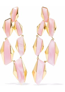 Noir Jewelry Woman Sparks Fly 14-karat Gold-plated Resin Earrings Baby Pink