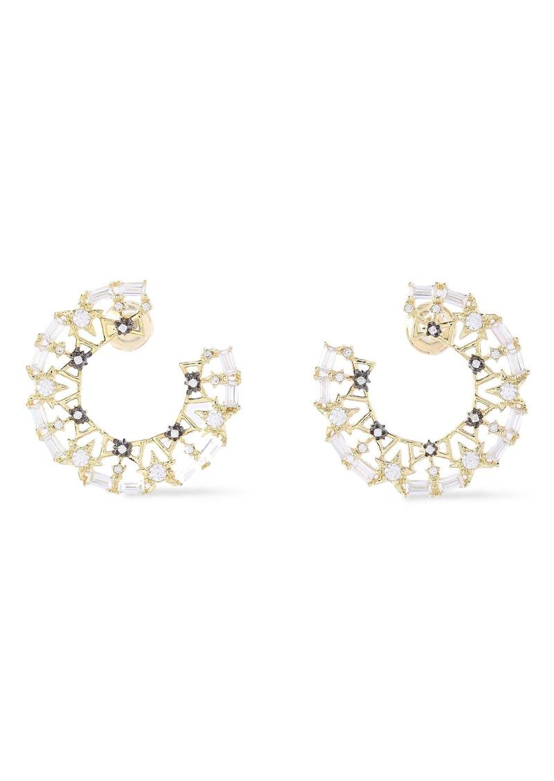 Noir Jewelry Woman Twinkle Trimmings 14-karat Gold-plated Crystal Earrings Gold