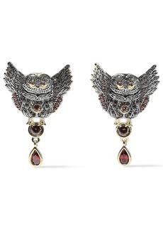 Noir Jewelry Woman Wise Wings 14-karat Gold-plated Crystal Earrings Gold
