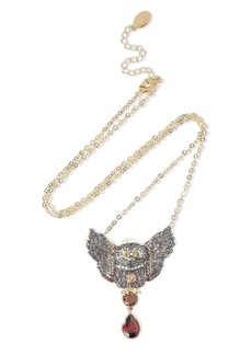 Noir Jewelry Woman Wise Wings 14-karat Gold-plated Crystal Necklace Gold