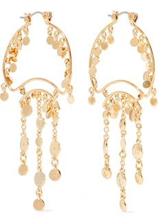 Noir Jewelry Woman Zagare 14-karat Gold-plated Crystal Earrings Gold