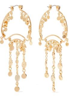 Noir Jewelry Woman Zagare 14-karat Gold-plated Crystal Earrings Gold