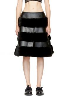 Noir Kei Ninomiya Black Faux-Leather Skirt