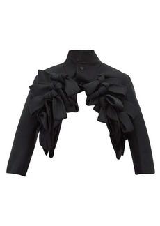 Noir Kei Ninomiya Bow-trim cropped wool-twill jacket