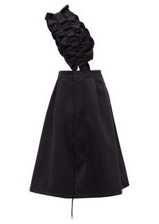 Noir Kei Ninomiya Bow-trimmed pinafore-strap satin skirt
