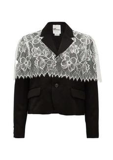 Noir Kei Ninomiya Chantilly-lace trimmed wool jacket