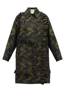 Noir Kei Ninomiya Double-breasted ruffled floral-jacquard coat