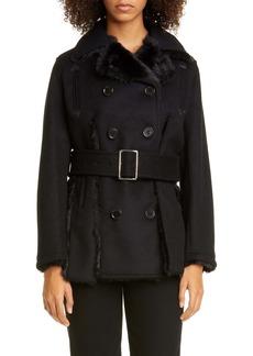 noir kei ninomiya Double Breasted Wool Coat with Faux Fur Trim