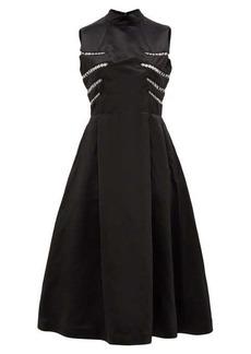 Noir Kei Ninomiya Eyelet-embellished open-back satin midi dress