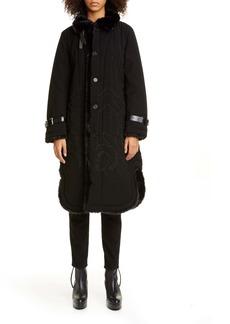 noir kei ninomiya Faux Fur Lined Embroidered Coat