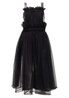 Noir Kei Ninomiya Faux-leather trim tulle dress