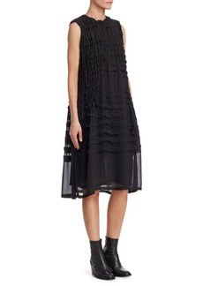 Noir Georgette Smocked Sleeveless Dress