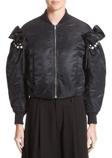 noir kei ninomiya Imitation Pearl Embellished Bomber Jacket