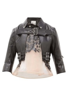 Noir Kei Ninomiya Organza-panel cropped faux-leather jacket