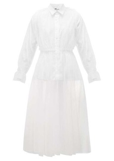 Noir Kei Ninomiya Panelled tulle and poplin shirt dress