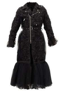 Noir Kei Ninomiya Peplum-hem floral-appliqué tulle coat