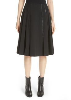 noir kei ninomiya Pleated Faux Leather Trim Skirt