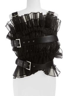 noir kei ninomiya Pleated Organza Faux Leather Harness