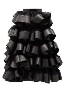 Noir Kei Ninomiya Ruffled plissé and faux-leather skirt