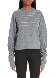 noir kei ninomiya Sheer Stripe Wool Blend Sweater