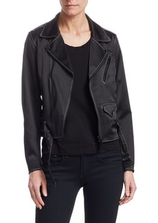 Noir Silk Satin Moto Jacket