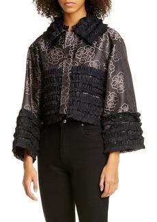 noir kei ninomiya Silk Taffeta Ruffle Floral Jacquard Crop Jacket