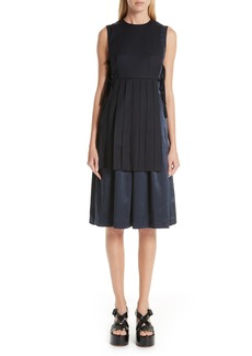noir kei ninomiya Sleeveless Wool & Satin Dress