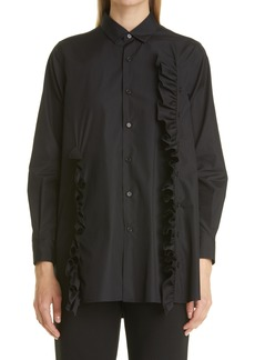 noir kei ninomiya Women's Board Ruffle Poplin Button-Up Shirt