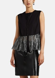 noir kei ninomiya Women's Cotton Poplin & Metallic Lace Blouse