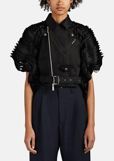 noir kei ninomiya Women's Cutout-Detailed Satin Crop Moto Jacket