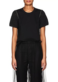 noir kei ninomiya Women's Embellished Cotton Jersey T-Shirt