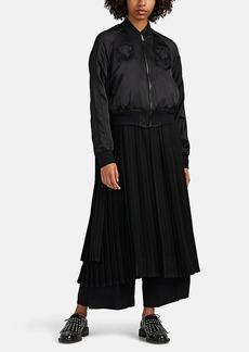 noir kei ninomiya Women's Embroidered Satin & Pleated Georgette Bomber Jacket